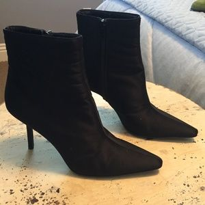 Anne Klein Black Silk Ankle Boots